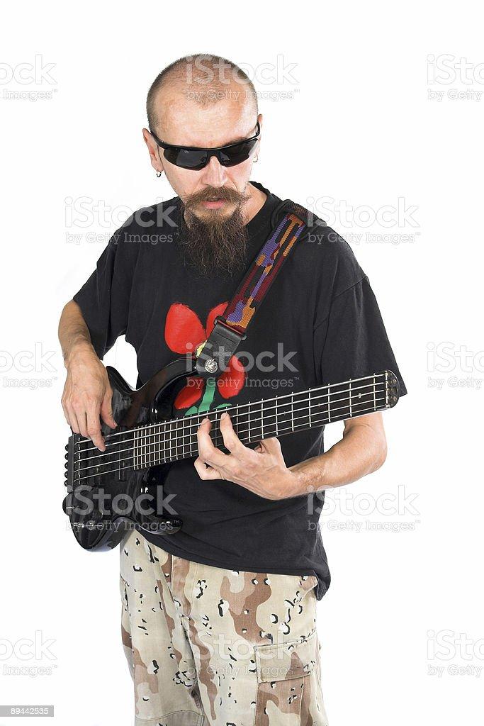 Przystojny bass player zbiór zdjęć royalty-free