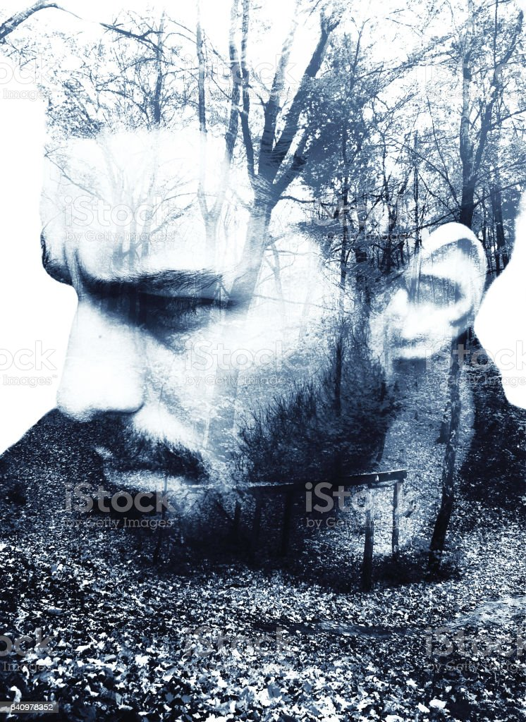 Handsome bearded man, double exposure stock photo