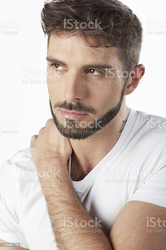 Handsome bearded man portrait looking away royalty-free stock photo