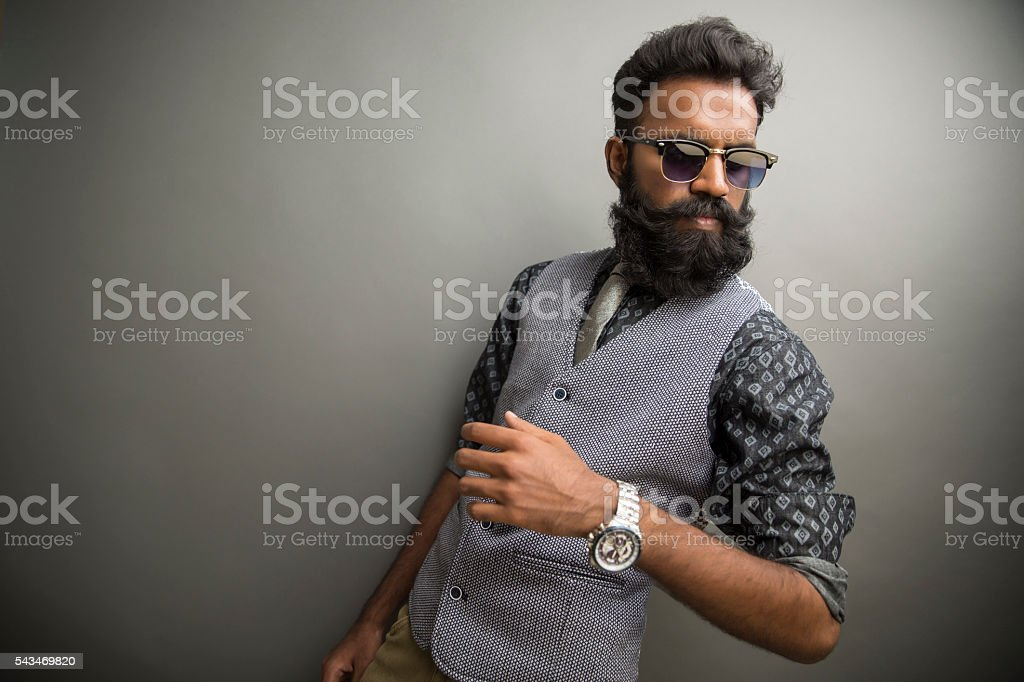 handsome bearded man with eye wear stock photo