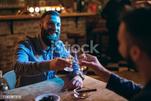 Two Handsome bearded Caucasian elegant men drinking whiskey together in a bar.