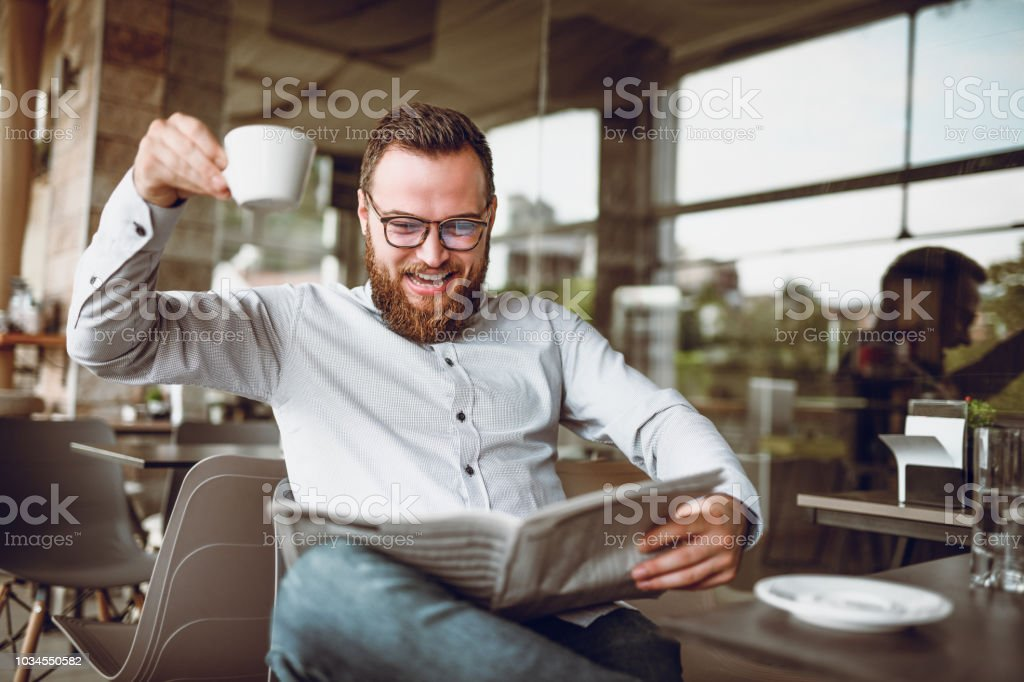 Remarkable Handsome Bearded Men Enjoys The Morning Coffee With Great News In Natural Hairstyles Runnerswayorg
