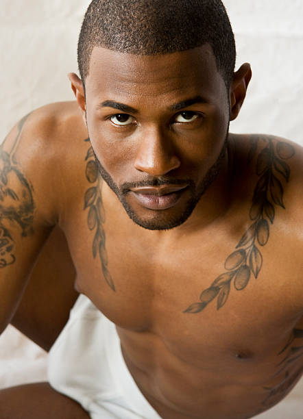 Handsome Black Man in Underwear stock photo