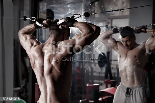 istock Handsome bodybuilder works out pushing up excercise in gym 528434328