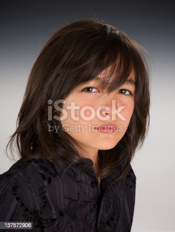 handsome boy model with long hair headshot stock photo