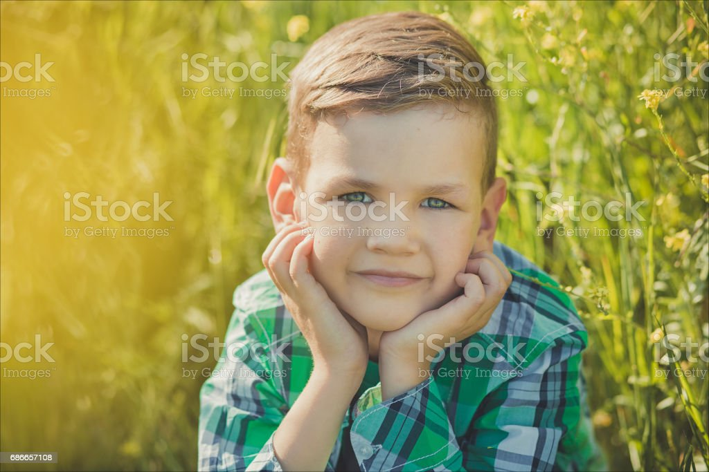 Handsome boy with blond hair in canola field royalty-free stock photo