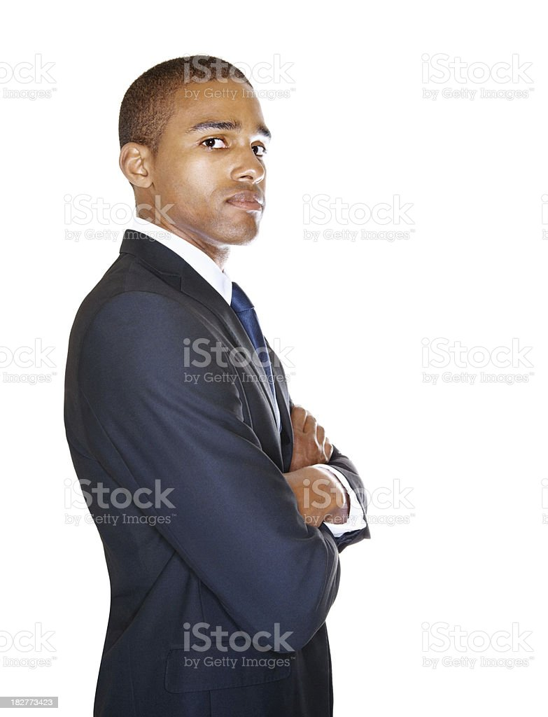 Handsome business man standing isolated on white royalty-free stock photo