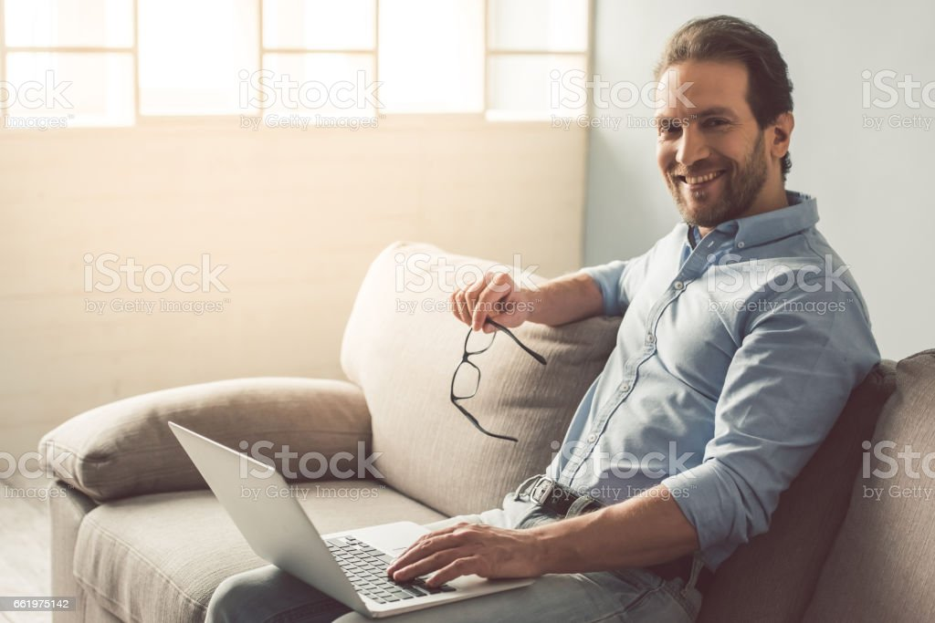 Handsome businessman at home royalty-free stock photo