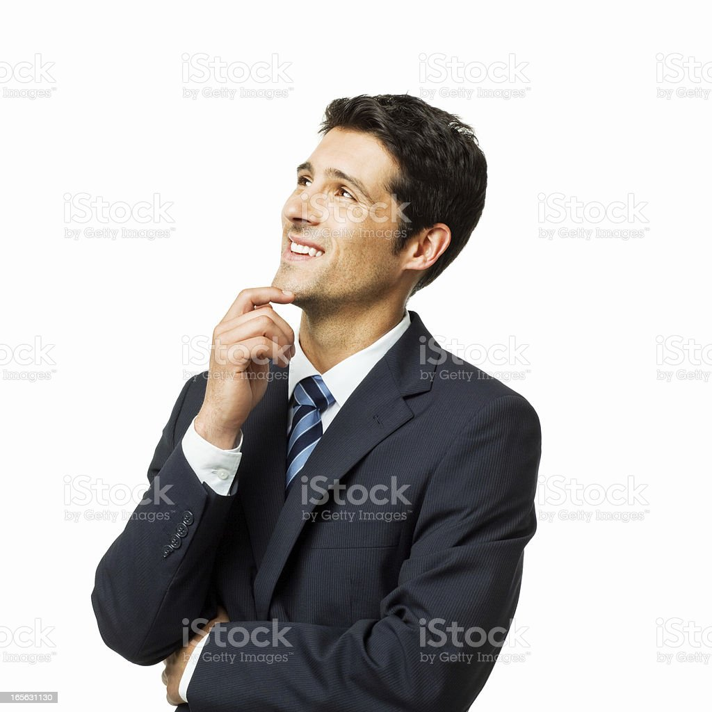 Handsome Businessman Deep in Thought - Isolated royalty-free stock photo