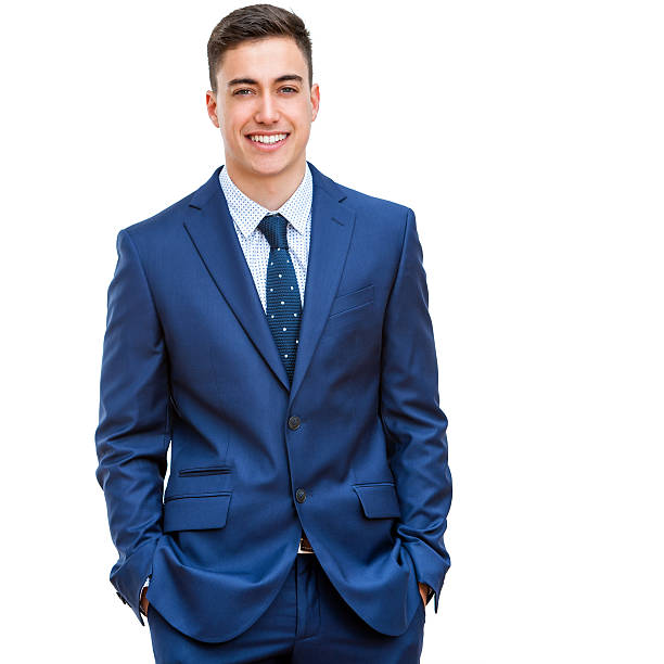 Handsome businessman in blue suit. stock photo