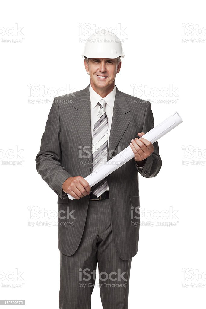 Handsome Businessman in Hardhat With Blueprints. Isolated royalty-free stock photo