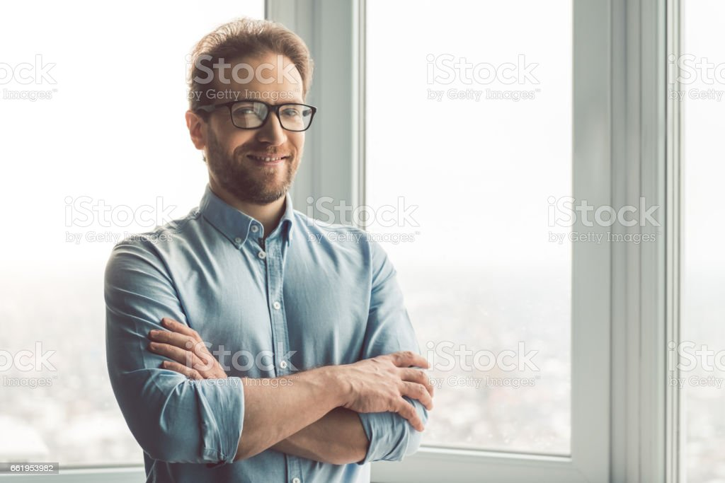 Handsome businessman in office royalty-free stock photo