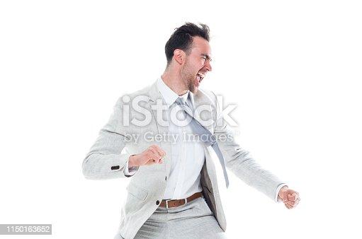 Attractive man in grey business attire