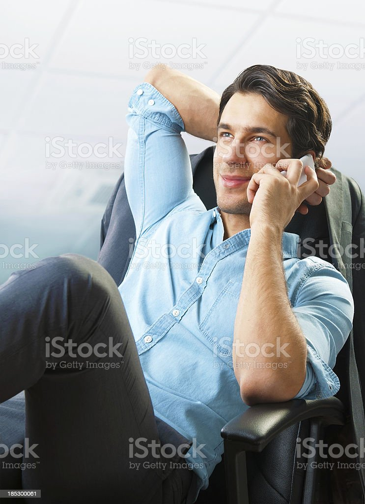 handsome businessman on cell phone royalty-free stock photo
