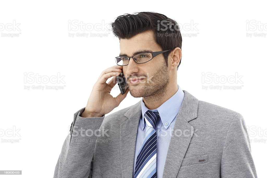 Handsome businessman on phone call royalty-free stock photo