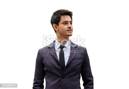 istock Handsome businessman smart and seriously in wear suit with tie 920998522