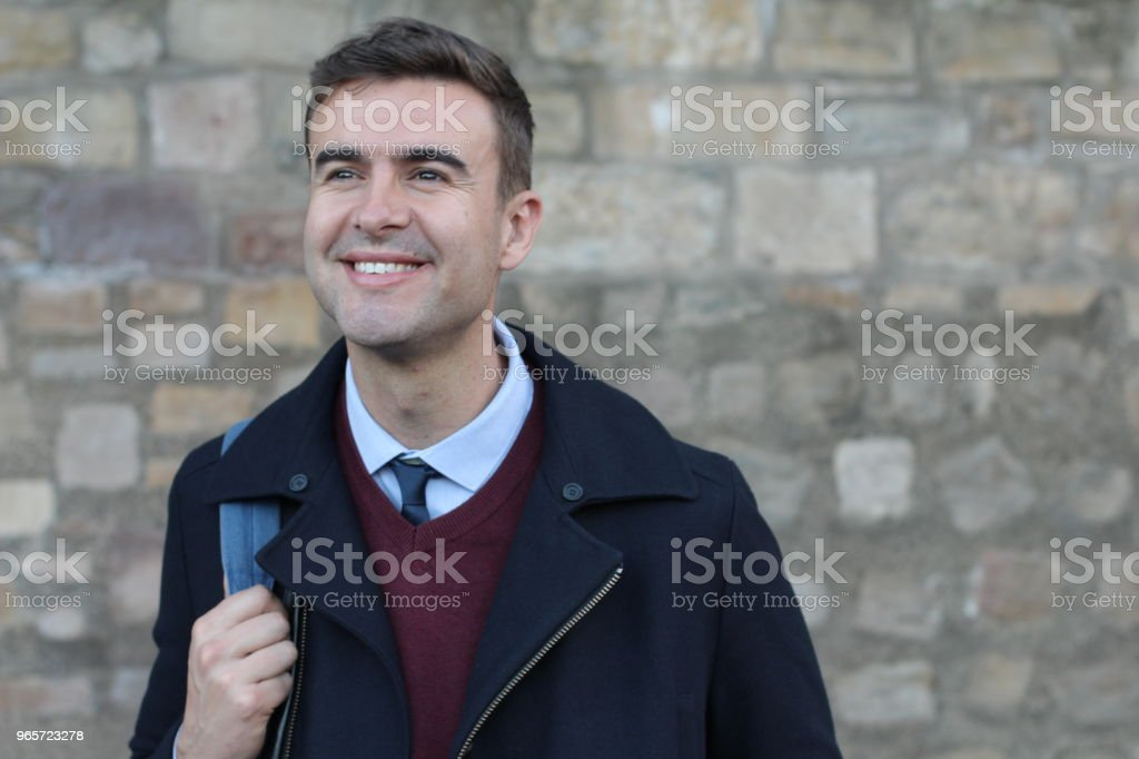 Handsome businessman smiling with copy space - Стоковые фото 30-34 года роялти-фри