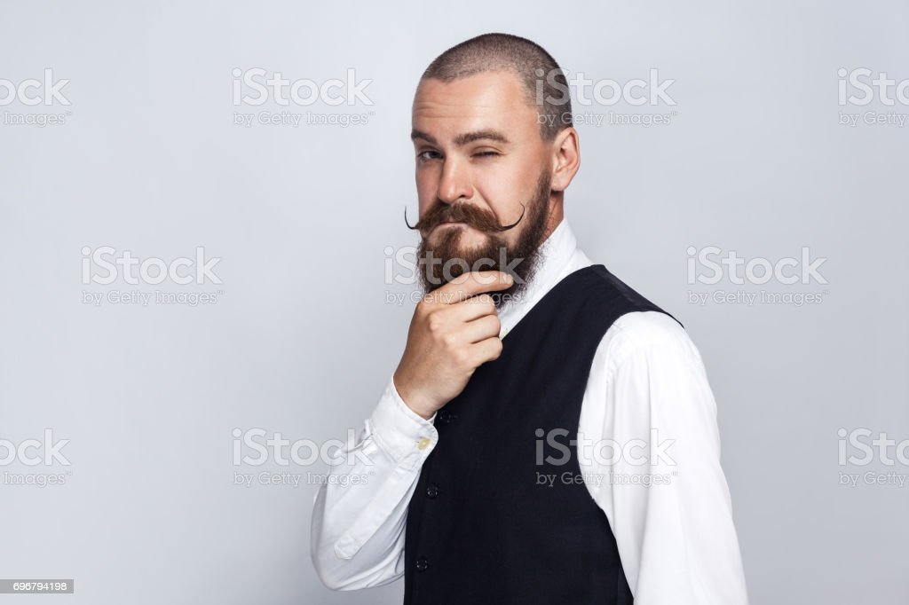 Handsome businessman thinking. stock photo
