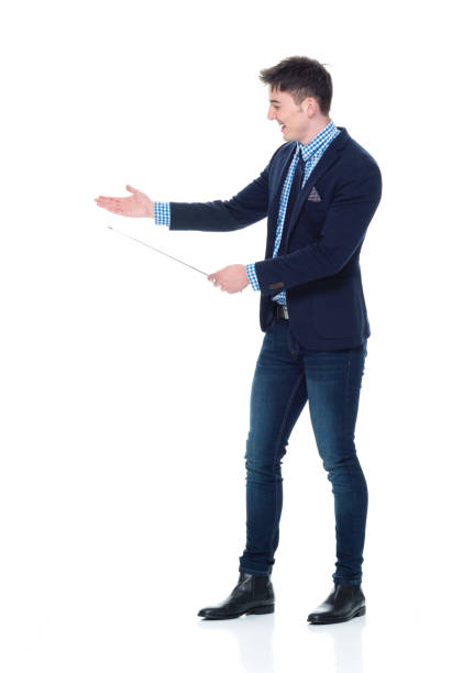 Handsome businessman using a pointer stick stock photo