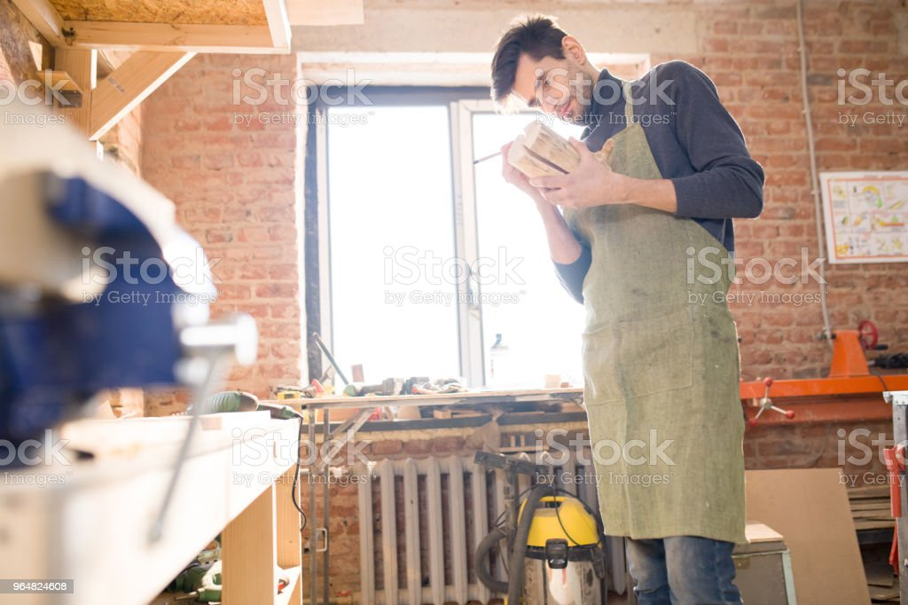 Handsome Carpenter Working with Wood royalty-free stock photo