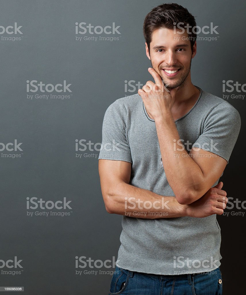 handsome casual man stock photo