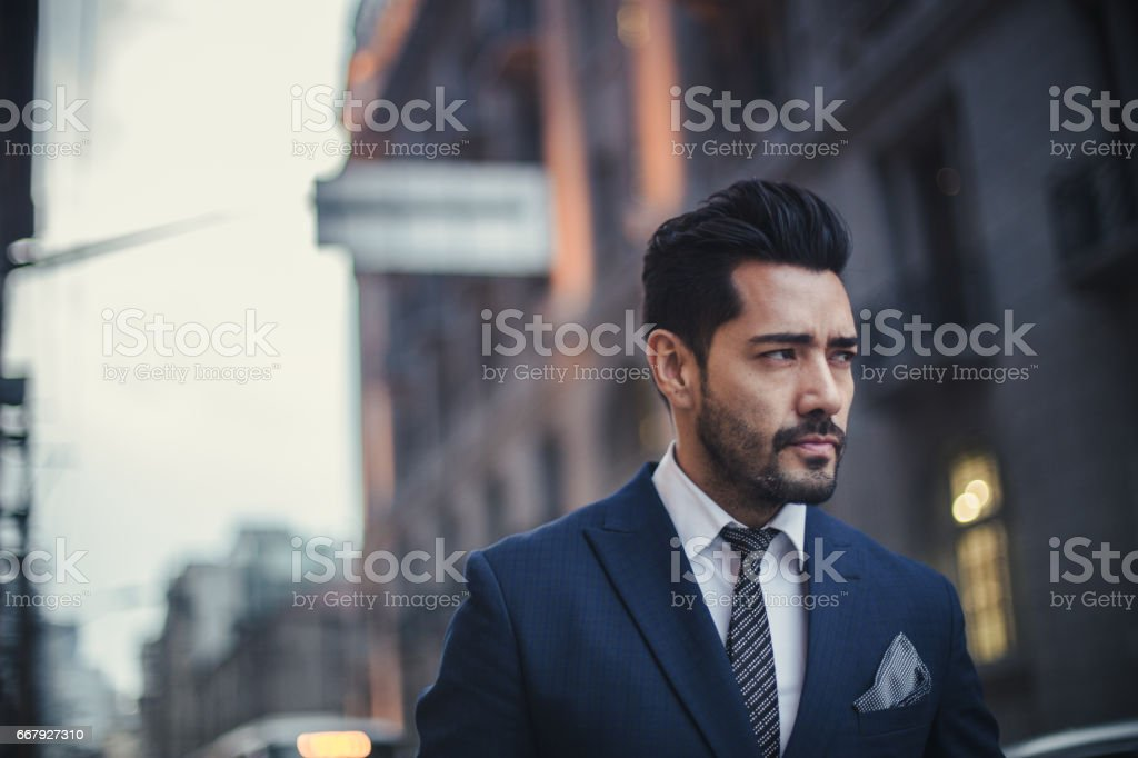 Handsome charming businessman stock photo