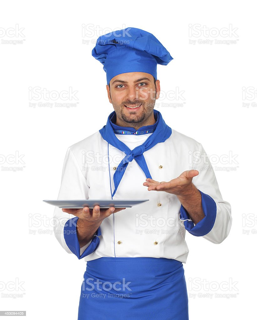 Handsome chef isolated stock photo