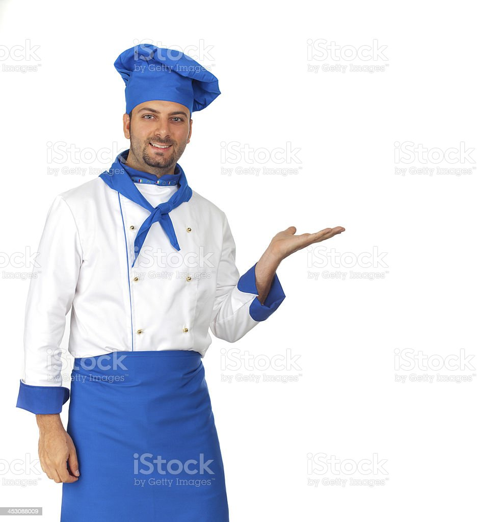 Handsome chef pointing stock photo