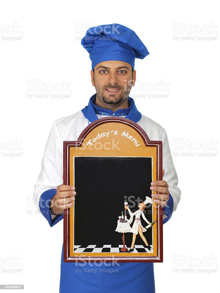 Handsome chef with menu isolated stock photo