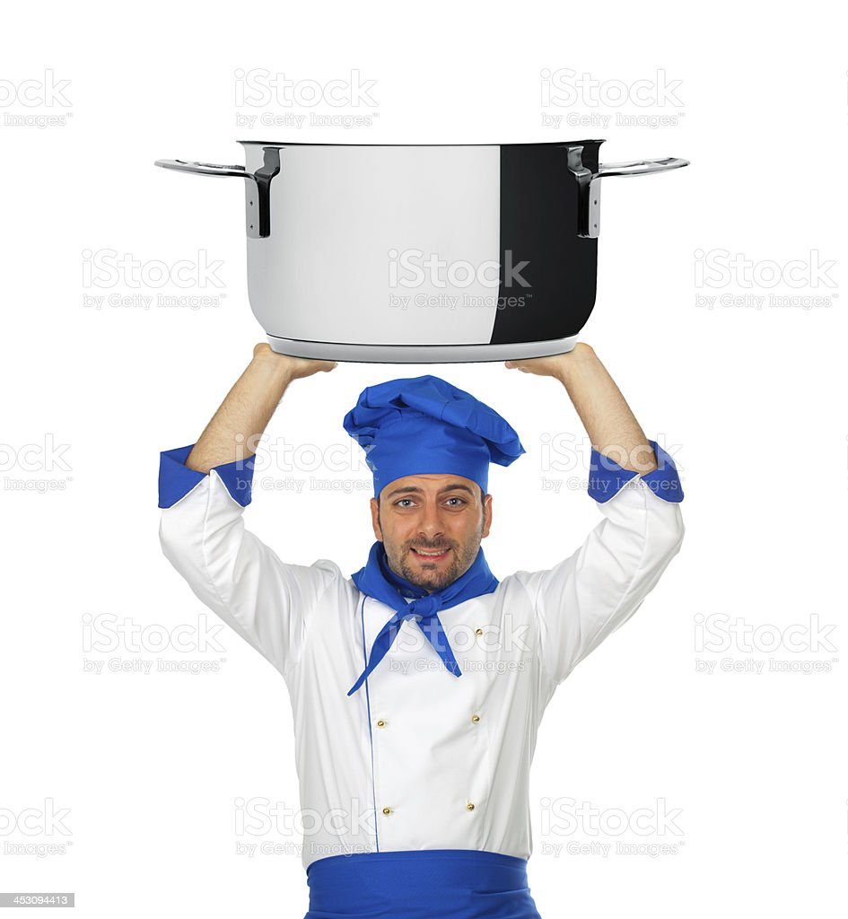 Handsome chef with pot isolated stock photo