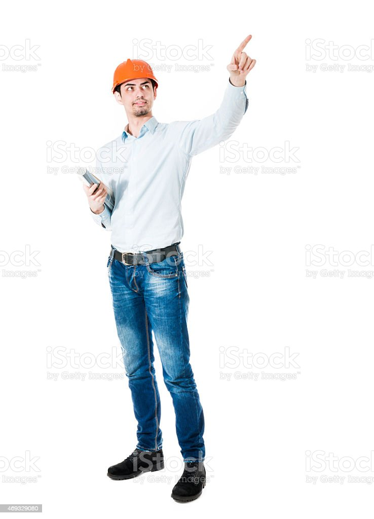Handsome Construction Worker With Hard Hat how Pointing Up stock photo