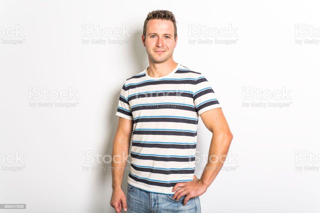 handsome dude in grey, portrait stock photo