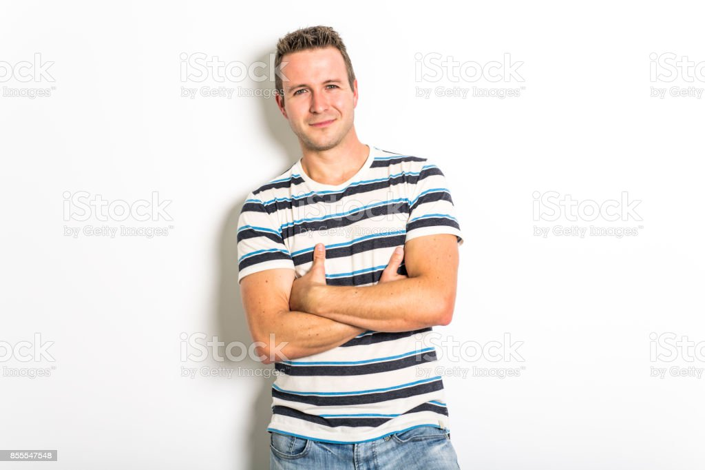 handsome dude in grey, portrait stock photo