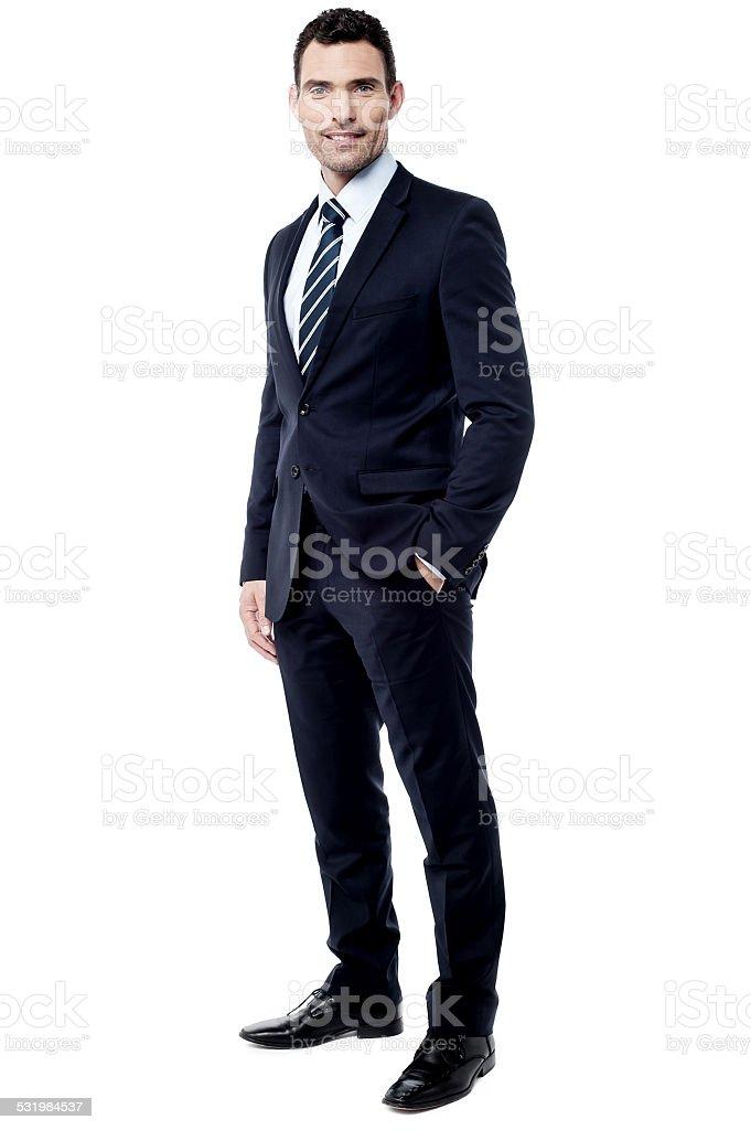 Handsome entrepreneur posing over white stock photo