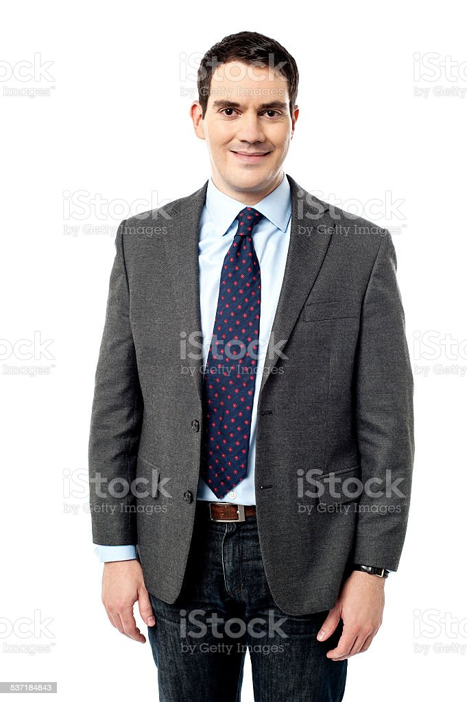 Handsome entrepreneur posing over white stock photo