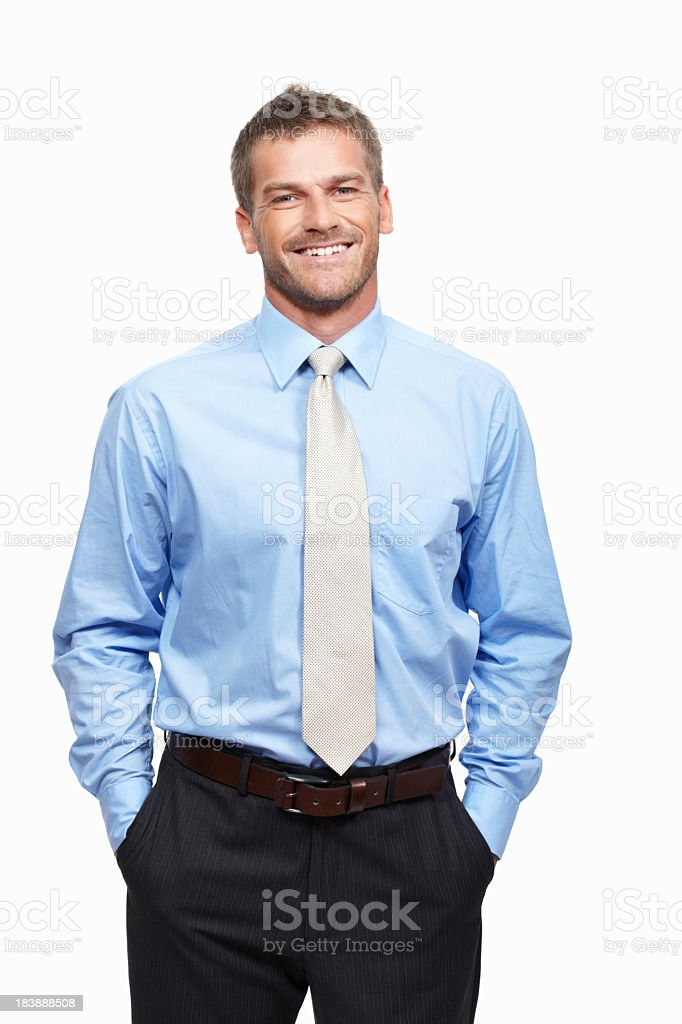 A handsome executive smiling on a white background royalty-free stock photo