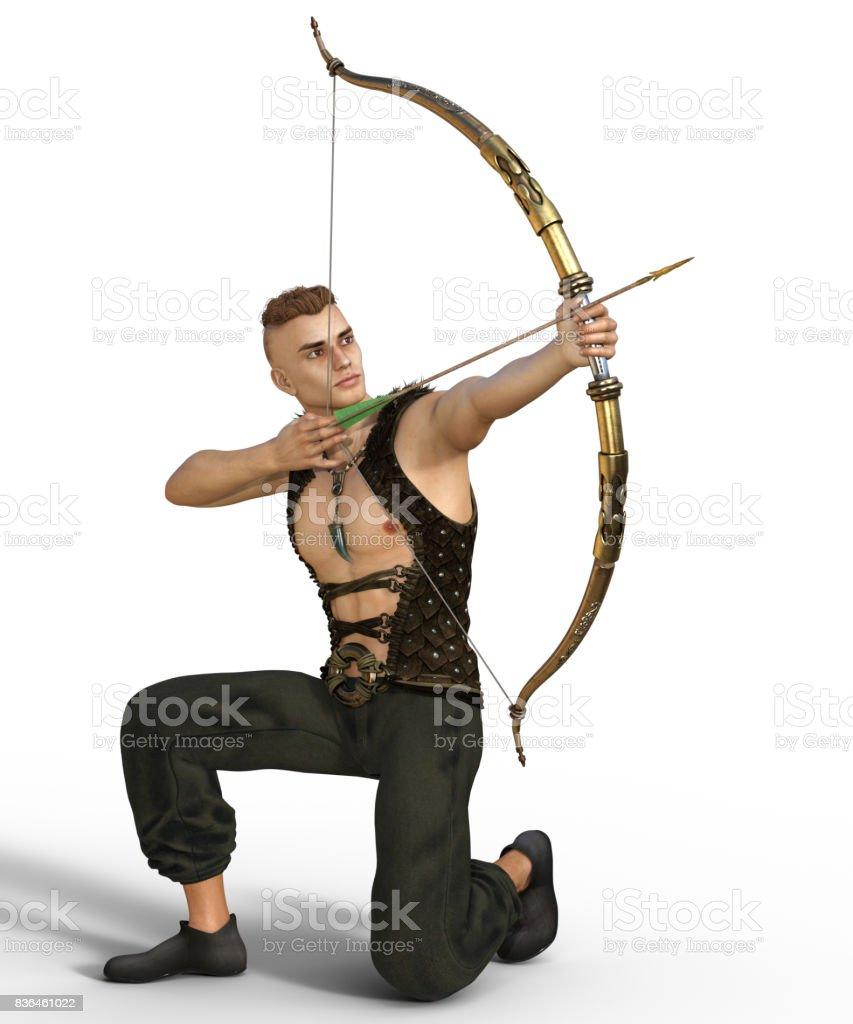 Handsome fantasy archer stock photo