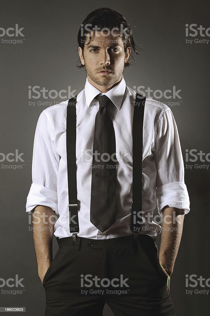 Handsome fashion model  with black tie royalty-free stock photo