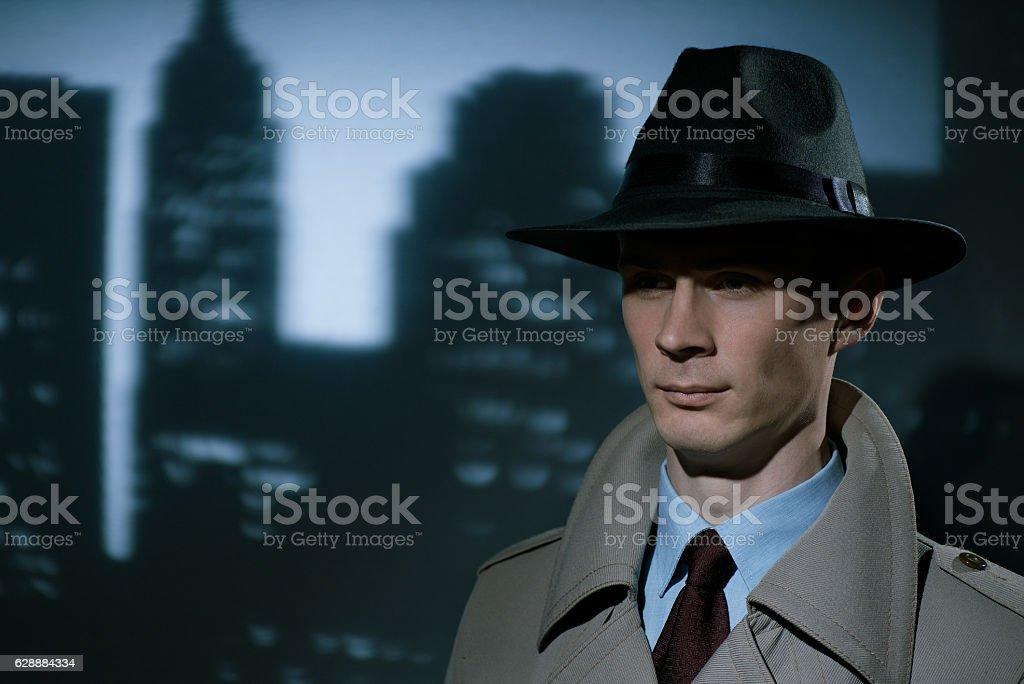 Handsome fashionable young detective urban gentleman stock photo