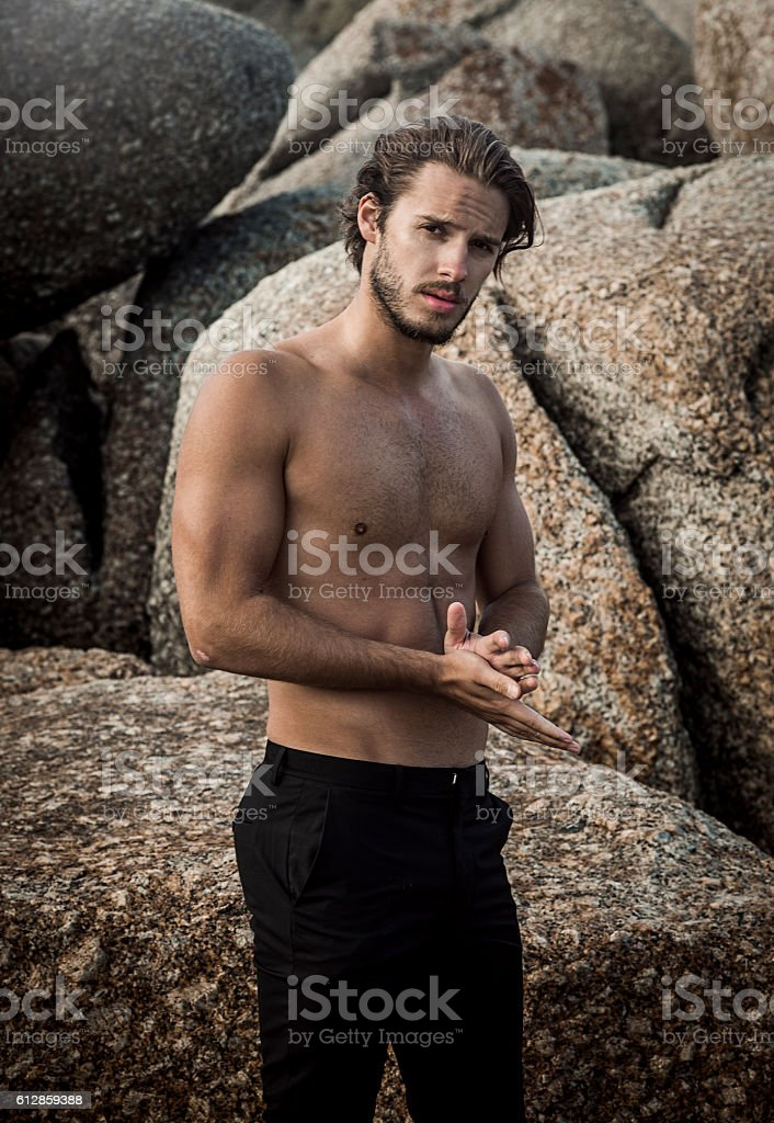 handsome fit man stock photo