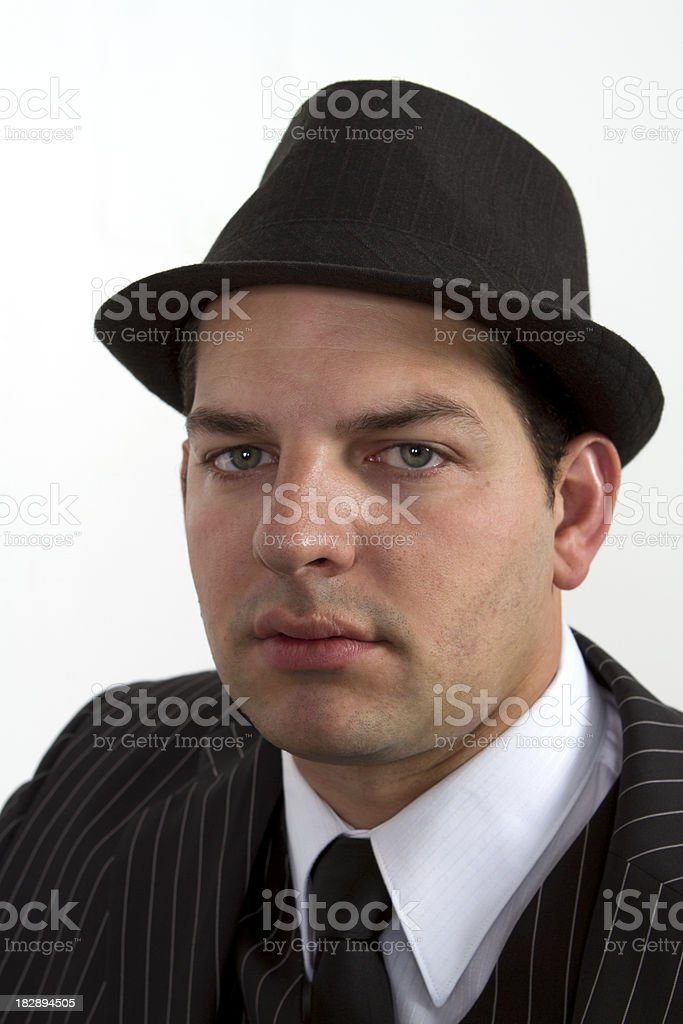 Handsome Gangster Wearing Hat Stock Photo   More Pictures of 1920 ... 36d38ba19a8