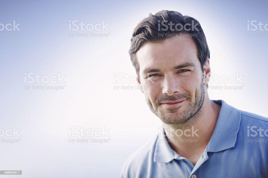 Handsome gentlemen in blue stock photo