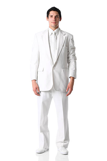 handsome groom man all white suit - white suit stock photos and pictures