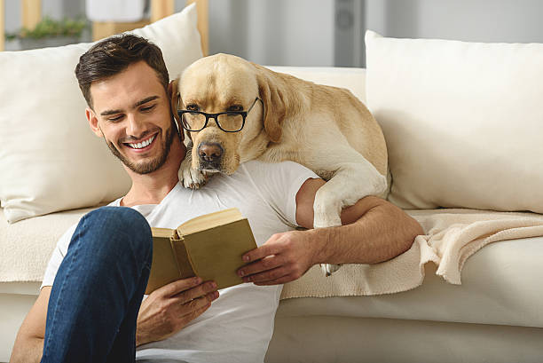 handsome guy holding book while smart pet read it clever dog in glasses reading book with a bearded man bachelor stock pictures, royalty-free photos & images