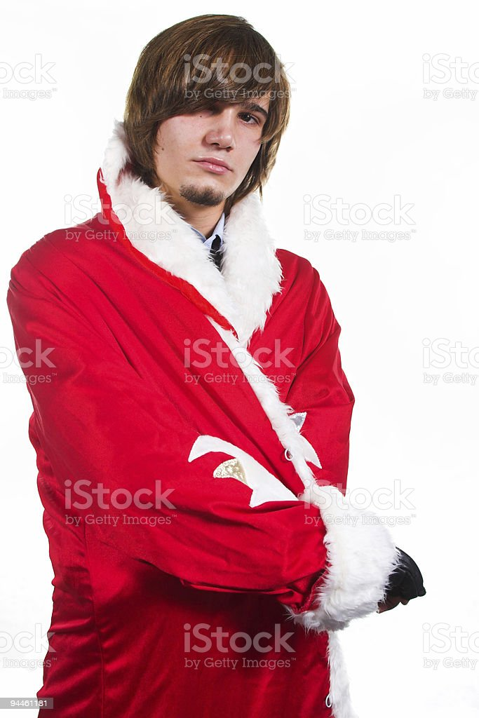 handsome guy in costume with red and white coat Santa royalty-free stock photo