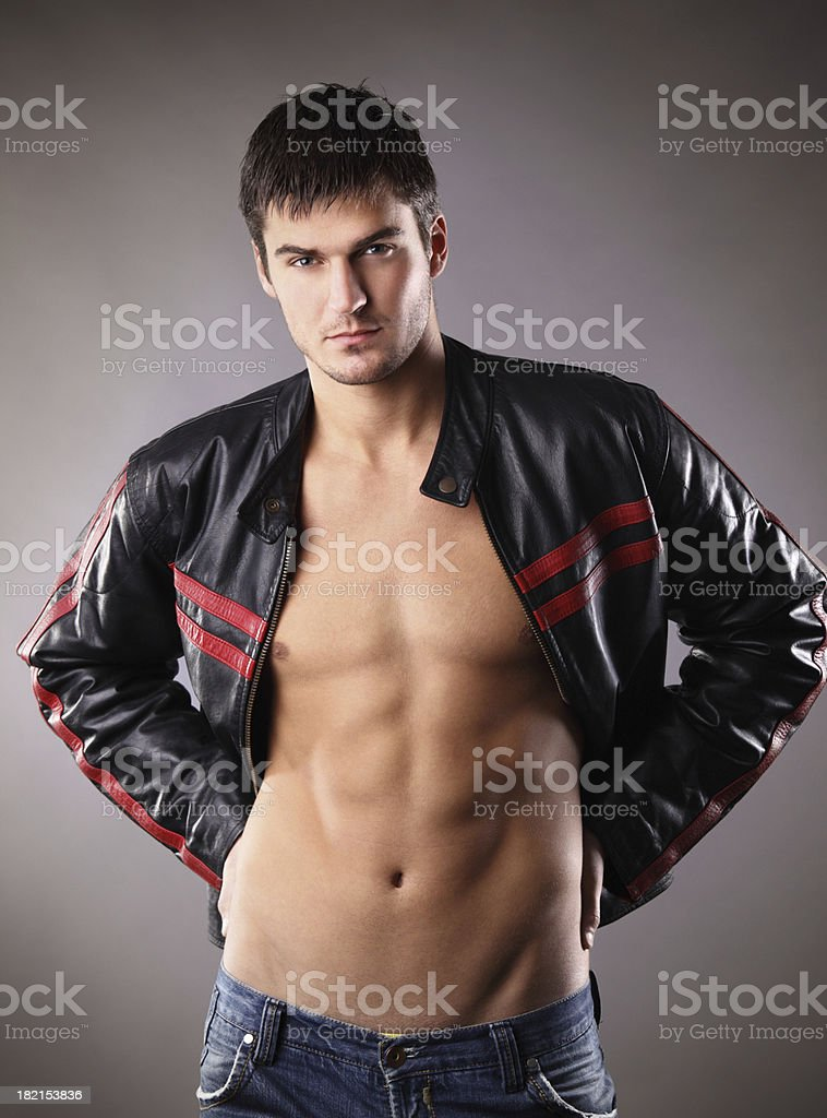 Handsome Guy In Leather Jacket Stock Photo More Pictures Of