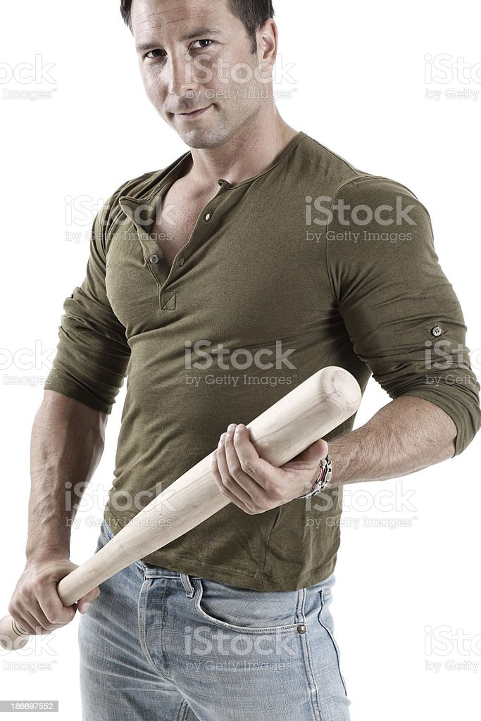 Handsome guy with baseball bat stock photo