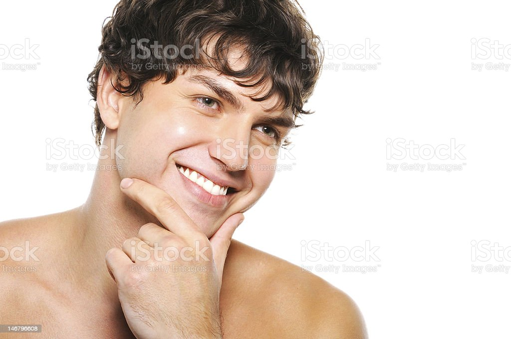 handsome happy man with clean-shaven face stock photo
