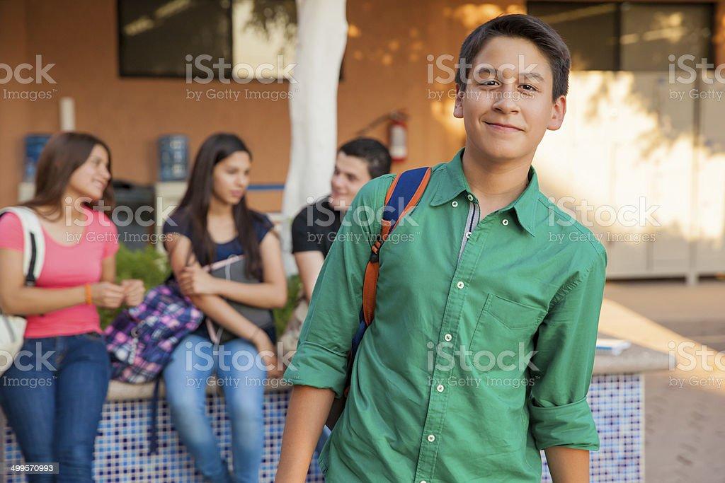 Handsome high school student stock photo