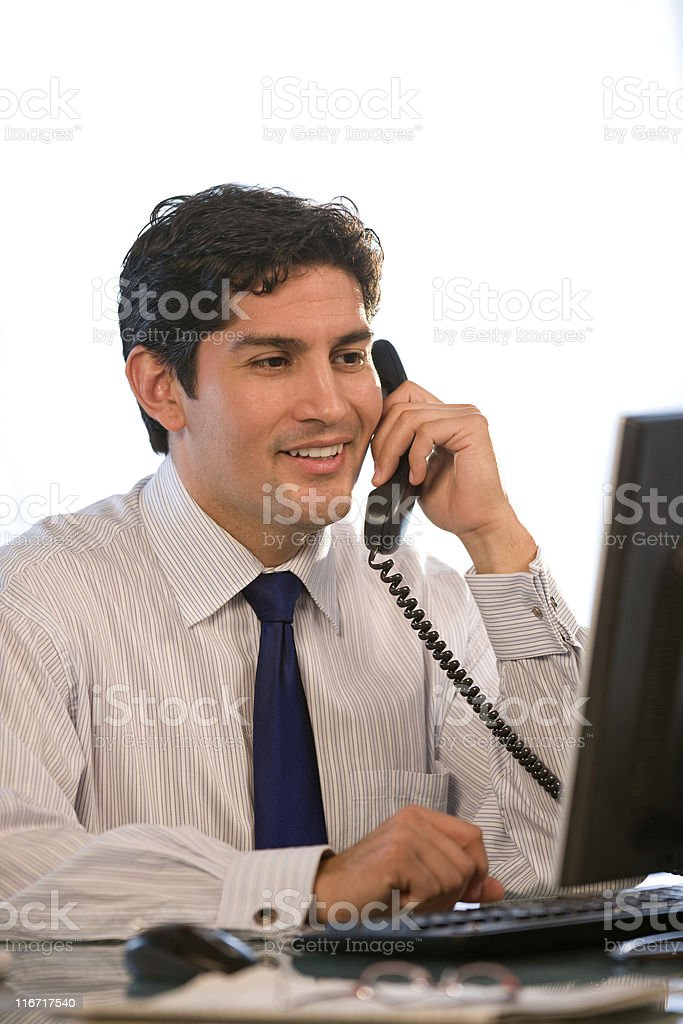 Handsome Hispanic Businessman On The Telephone royalty-free stock photo